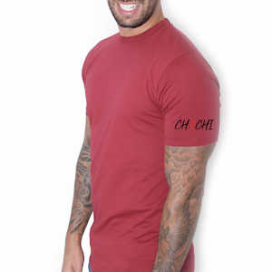 Brand Tee Small Schoulder Logo BLACK Bordeaux Red
